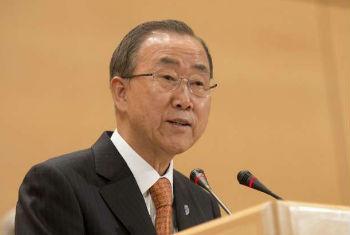 Ban Ki-moon discursa em Genebra. Foto: ONU/JM.Ferré