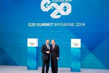 Tony Abbot e Ban Ki-moon. Foto: Rick Bajornas