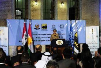 Irina Bokova em visita ao Iraque. Foto: Unami