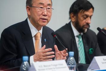 Secretário-geral da ONU, Ban Ki-moon, participa de lançamento do relatório do Ipcc, em Copenhague, Dinamarca. Foto: ONU