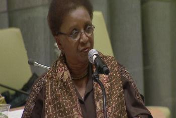 Luiza Bairros em discurso na sede da ONU.