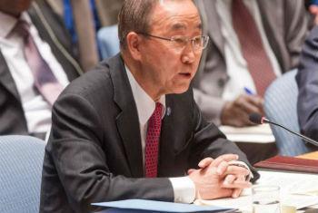 No Conselho de Segurança, Ban Ki-moon falou sobre a cooperação entre a União Africana e a ONU. Foto: ONU/Amanda Voisard