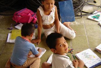 Crianças colombianas refugiadas no Brasil. Foto: Acnur/T.Bessa