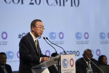 Ban Ki-moon em discurso na Cop 20. Foto: ONU/Mark Garten