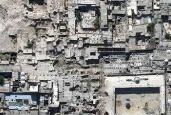 Imagem de satélite mostra destruição em Alepo, na Síria. Foto: Unitar