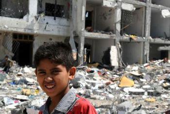 Destruição em Gaza. Foto: Unwra
