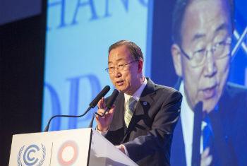 Ban Ki-moon em Lima. Foto: ONU/Mark Garten