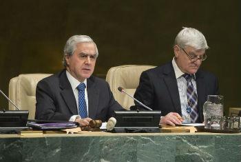 Álvaro Mendonça e Moura na abertura da sessão especial na Assembleia Geral. Foto: ONU/Eskinder Debebe