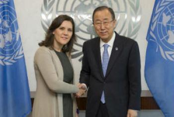 Assunção Cristas no encontro com Ban Ki-moon. Foto: ONU/Eskinder Debebe