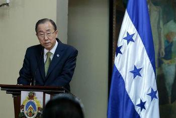 Ban Ki-moon em visita às Honduras. Foto: ONU/Evan Schneider
