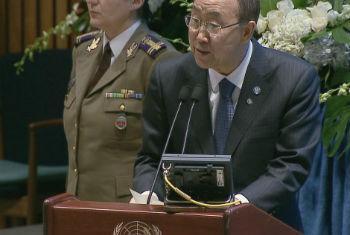 Ban durante cerimônia na sede da ONU em Nova York. Foto: Reprodução