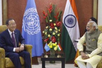 Ban Ki-moon e Narendra Modi. Foto: ONU/Mark Garten.