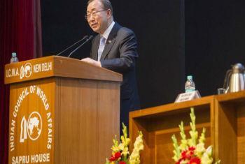Ban durante discurso na Índia. Foto: ONU/Mark Garten
