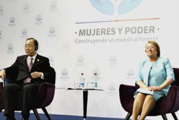 Secretário-geral, Ban Ki-moon e a presidente do Chile, Michelle Bachelet . Foto ONU/Evan Schneider