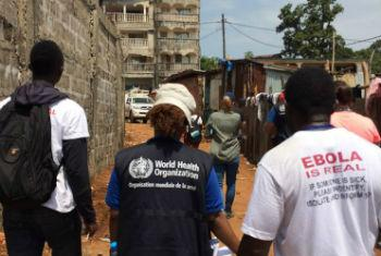 Profissionais de saúde em Freetown, Serra Leoa. Foto: OMS/D. Licona