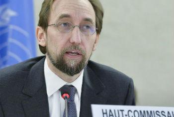 Zeid Al Hussein em discurso no Conselho de Direitos Humanos. Foto: ONU/Jean-Marc Ferré