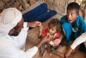 Família deslocada no Iémen. Foto: Ocha