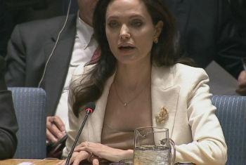 Angelina Jolie em reunião no Conselho de Segurança nesta sexta-feira. Foto: Reprodução