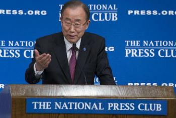 Ban Ki-moon discursa no National Press Club, em Washington. Foto: ONU/Eskinder Debebe