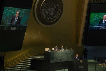 Ban em discurso nesta quarta-feira na Assembleia Geral. Foto: ONU/Eskinder Debebe