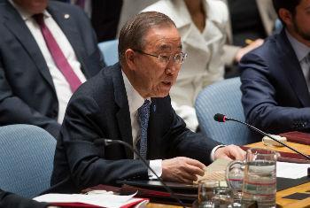 Ban Ki-moon em discurso no Conselho de Segurança nesta quinta-feira. Foto: ONU/Loey Felipe
