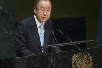 Ban Ki-moon durante discurso nesta terça-feira. Foto: ONU/Eskinder Debebe