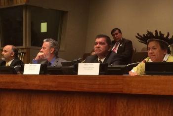 Delegação brasileira, da esq. p/ direita: ministro George Hilton, embaixador Antonio Patriota, prefeito de Palmas, Carlos Amastha e líder indígena, Marcos Terena. Foto: Rádio ONU