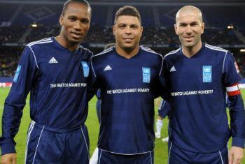 Drogba, Ronaldo e Zidane no Joga Contra a Pobreza em 2012. Foto: Pnud