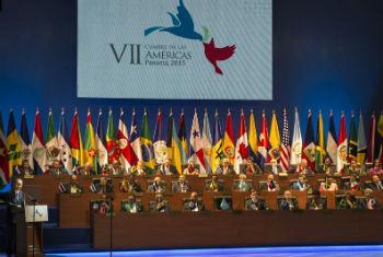 Secretário-geral Ban Ki-moon discursa na 7ª Cúpula das Américas, no Panamá. Foto: ONU/Eskinder Debebe