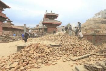 Destruição em Katmandu. Foto: Pnud/Laxmi Prasad Ngakhusi