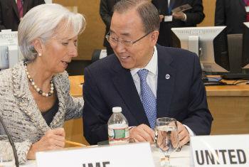 Christine Lagarde, diretora do FMI, e Ban Ki-moon em Washington. Foto: Eskinder Debebe