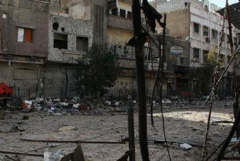 Destruição em Yarmouk. Foto: Unrwa/Taghrid Mohammed