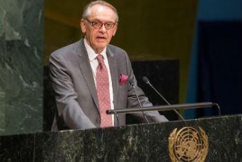 Jan Eliasson em discurso na Assembleia-Geral, nesta quarta-feira. Foto: ONU/Loey Felipe
