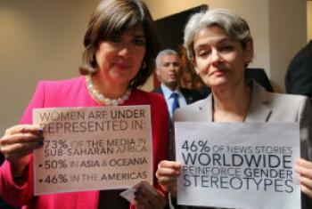 Christiane Amanpour e Irina Bokova. Foto: Unesco