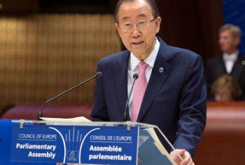 Ban Ki-moon discursa na Assembleia Parlamentar do Conselho da Europa, em Estrasburgo, na França. Foto: ONU/Eskinder Debebe