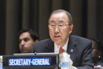 Ban Ki-moon na Assembleia Geral da ONU. Foto: ONU/Mark Garten