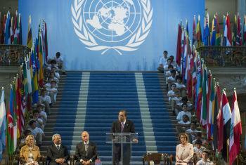 Ban Ki-moon durante a cerimônia em São Francisco. Foto: ONU/Mark Garten