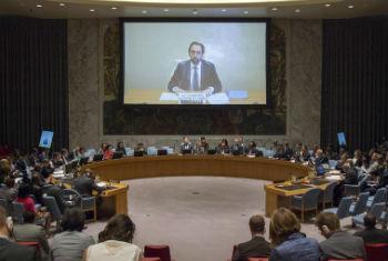 Zeid Al Hussein fala aos membros do Conselho de Segurança, nesta quinta-feira. Foto: ONU/Loey Felipe