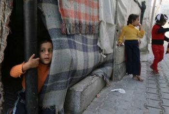 Crianças em acampamento para refugiados em Gaza. Foto: Unicef Palestina/Eyad El Baba