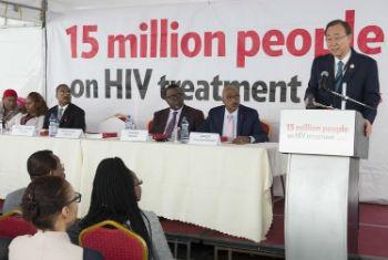 Ban Ki-moon em discurso sobre as metas alcançadas em relação ao Sida. Foto: ONU/Eskinder Debebe