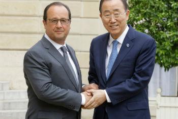 Encontre de Ban Ki-moon com o presidente da França, François Hollande. Foto: ONU/Evan Schneider