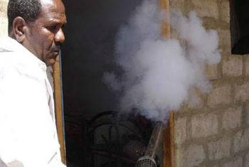 Spray deve ser passado para evitar dengue. Foto: WHO/Iémen