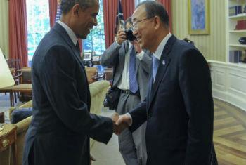 Encontro de Ban Ki-moon e Barack Obama na Casa Branca. Foto: ONU/Mark Garten
