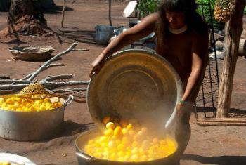 Indígena cozinha pequi na Amazônia brasileira. Foto: Ifad/Obiettivo Sul Mondo