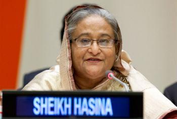 Primeira-ministra Sheikh Hasina de Bangladesh, uma das vencedoras do prêmio Campeões da Terra das Nações Unidas. Foto: ONU/JC McIlwaine