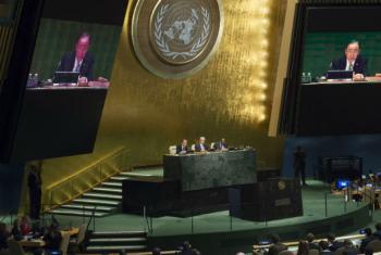 Secretário-geral da ONU, Ban Ki-moon, na reunião de abertura da 70ª sessão da Assembleia Geral. Foto: ONU/Eskinder Debebe