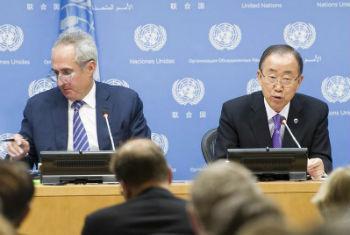 Ban Ki-moon fala com jornalistas na sede das Nações Unidas. Foto: ONU/Mark Garten