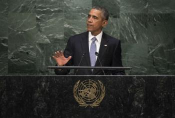 Presidente dos Estados Unidos, Barack Obama, em discurso à Assembleia Geral da ONU. Foto: ONU/Cia Pak