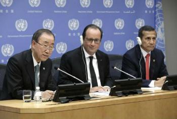 Ban Ki-moon, Francois Hollande e Ollanta Humala Tasso do Peru. Foto: ONU/Evan Schneider