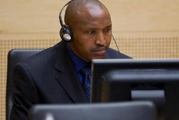 Líder congolês, Bosco Ntaganda, no Tribunal Penal Internacional, em Haia, Holanda.